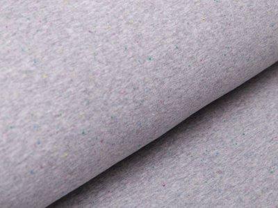 Alpenfleece Happy Fleece - bunte mini Dots - meliert grau