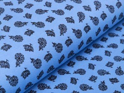 Jersey Piquè Print - Blätter - blau