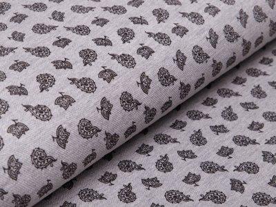 Jersey Piquè Print - Blätter - grau