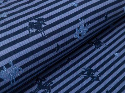 Jacquard mit Glitzer - Rehe auf Streifen - blau