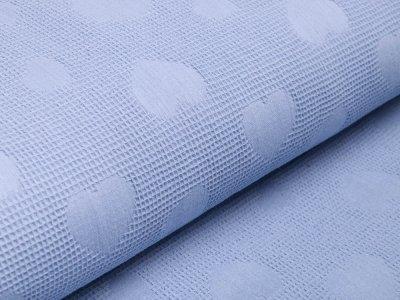 Jacquard in Waffeloptik - Herzen - helles blau