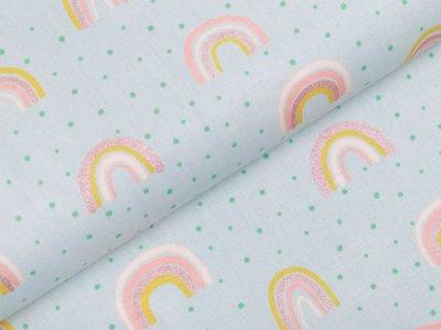 Webware Baumwolle Popeline mit Glitzer - Regenbögen - mint