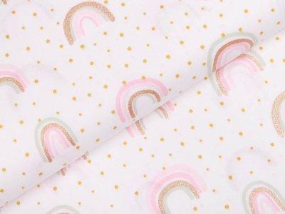 Webware Baumwolle Popeline mit Glitzer - Regenbögen - weiß