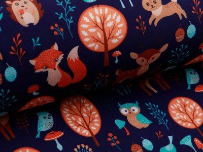 Softshell Jackenstoff Fräulein von Julie - verschiedene Waldtiere - nachtblau