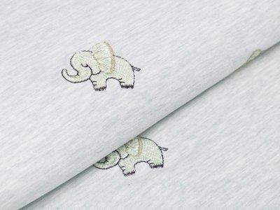 Jersey mit Stickerei - Elefanten - meliert mint