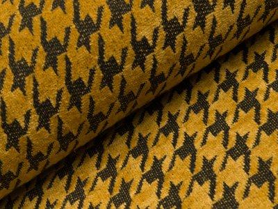 Chenille Strickstoff - Hahnentritt-Muster - gelb
