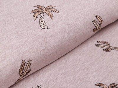 Jersey mit Stickerei - Kakteen - meliert beige