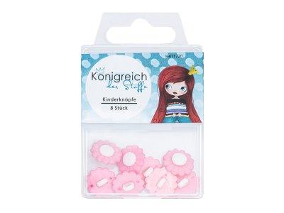 Kinderknöpfe 8 Stück - kleine Blümchen - rosa