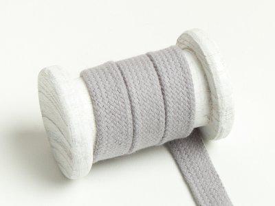 Flache Baumwoll Kordel / Band Hoodie / Kapuze 18 mm breit hellgrau