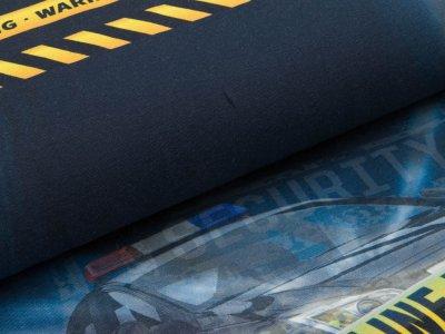 Jersey Digitaldruck Stenzo PANEL ca. 92 x 150 cm - Polizeiautos und Absperrungen - blau