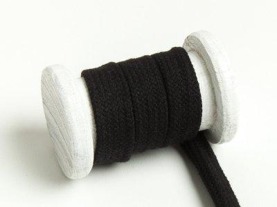 Flache Baumwoll Kordel / Band Hoodie / Kapuze 18 mm breit schwarz