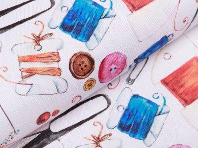 Canvas Digitaldruck - verschiedene Nähutensilien - weiß