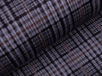 Samt Cord mit Fellabseite - Karo - grau