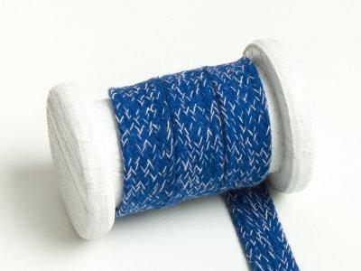 Flache Baumwoll Kordel / Band Hoodie / Kapuze 20 mm breit meliert blau