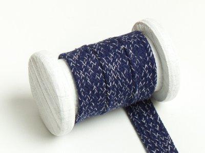 Flache Baumwoll Kordel / Band Hoodie / Kapuze 20 mm breit meliert marine