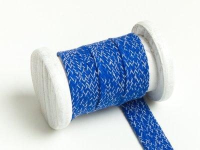 Flache Baumwoll Kordel / Band Hoodie / Kapuze 20 mm breit meliert kobaltblau