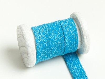 Flache Baumwoll Kordel / Band Hoodie / Kapuze 20 mm breit meliert aqua