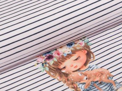 Jersey Digitaldruck Stenzo PANEL ca. 75 x 150 cm - Mädchen mit Reh - marine