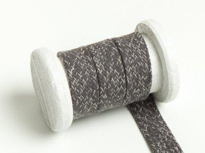 Flache Baumwoll Kordel / Band Hoodie / Kapuze 20 mm breit meliert dunkelgrau