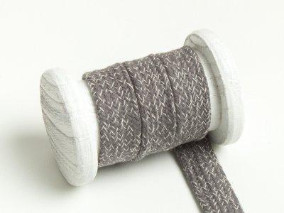Flache Baumwoll Kordel / Band Hoodie / Kapuze 20 mm breit meliert hellgrau