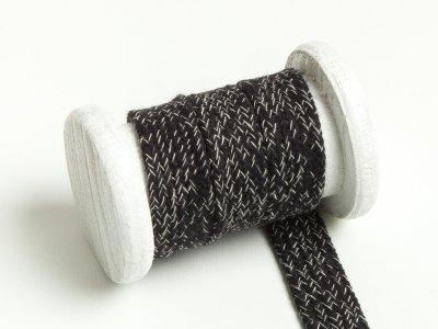 Flache Baumwoll Kordel / Band Hoodie / Kapuze 20 mm breit meliert schwarz