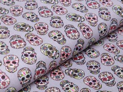 Französische Webware Baumwolle - gemusterte Skulls - grau
