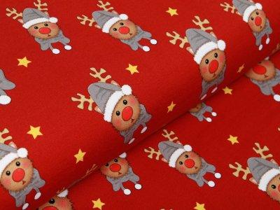 Sweat French Terry Swafing Toronto - Weihnachtselche und Sterne - rot