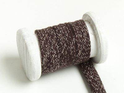 Flache Baumwoll Kordel / Band Hoodie / Kapuze 20 mm breit meliert schokobraun