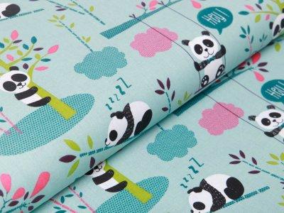 Französische Webware Baumwolle - spielende Pandas - mint