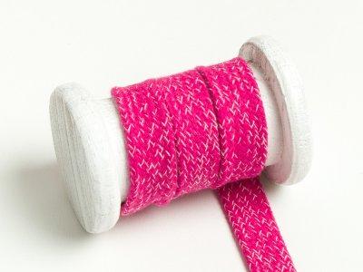 Flache Baumwoll Kordel / Band Hoodie / Kapuze 20 mm breit meliert fuchsia