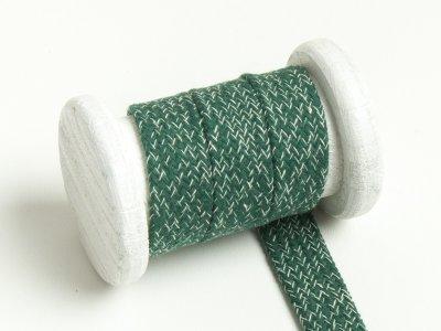 Flache Baumwoll Kordel / Band Hoodie / Kapuze 20 mm breit meliert flaschengrün
