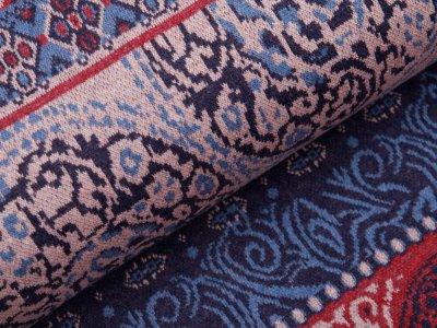 Jersey Jacquard PANEL ca. 85 cm x 155 cm - Orientalisches Blumenmuster - dunkles jeansblau