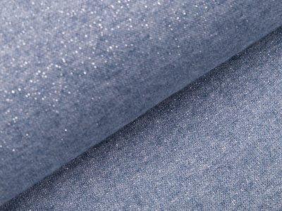 Jersey Strickstoff mit Glitzerfäden - meliert jeansblau