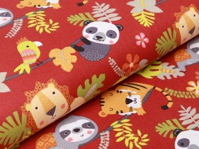 Französische Webware Baumwolle - spielende Zootiere - terrakotta