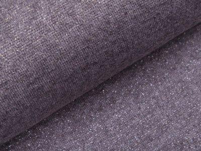 Jersey Strickstoff mit Glitzerfäden - meliert grau