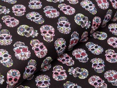 Französische Webware Baumwolle - gemusterte Skulls - schwarz