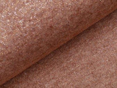 Jersey Strickstoff mit Glitzerfäden - meliert helles braun