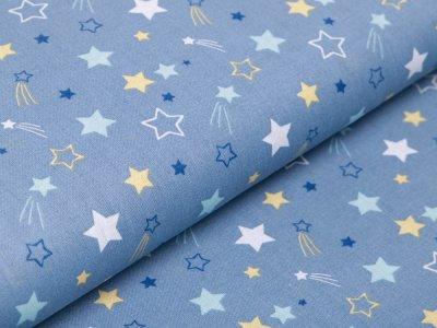 Französische Webware Baumwolle - Sternschnuppen - jeansblau