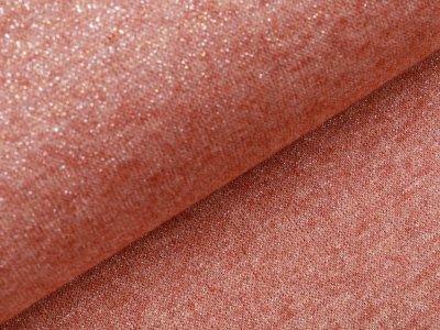 Jersey Strickstoff mit Glitzerfäden - meliert terrakotta