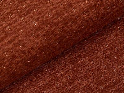 Jersey Strickstoff mit Glitzerfäden - Lochstickerei Broderie -  meliert braun