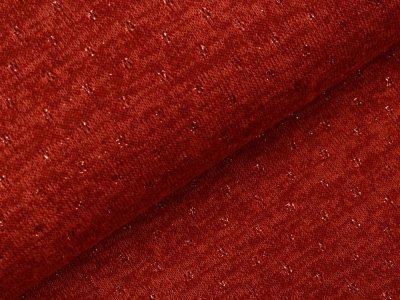 Jersey Strickstoff mit Glitzerfäden - Lochstickerei Broderie -  meliert terrakotta