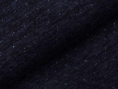 Jersey Strickstoff mit Glitzerfäden - Lochstickerei Broderie -  meliert nachtblau