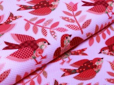 Jersey Digitaldruck - Vögel und Blumen - rosa