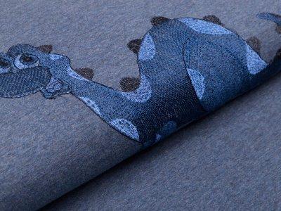 Jersey mit Stickerei PANEL ca. 80 cm x 150 cm - Dinosaurier - meliert blau