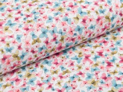 Webware Baumwolle Popeline Digitaldruck  - Schmetterlinge - pink/petrol
