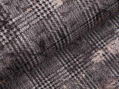 Jersey Jacquard  mit Foliendruck - kariertes Blumen Muster auf Hahnentritt - schwarz/weiß