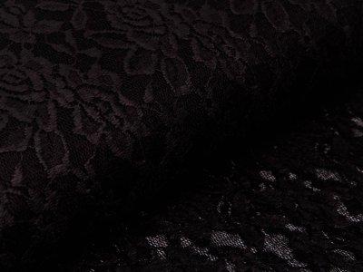 Hochwertige Spitze mit Farbfolie - Florales-Muster - schwarz
