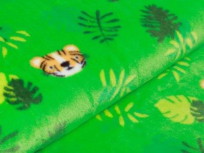 Flanell Fleece - kleine Tiger und Blätter - grasgrün