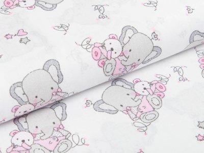 Webware Baumwolle - Elefanten mit Bärchen - rosa/grau