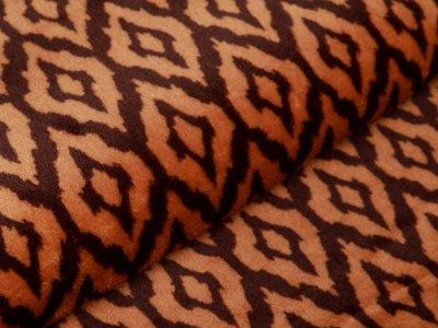 Flanell Fleece Doubleface - Rauten-Muster - braun